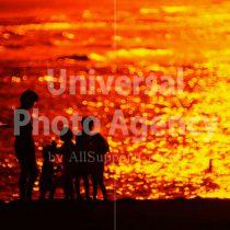 ハワイ オアフ アラモアナビーチパークの夕景 親子のシルエット / ha03-48