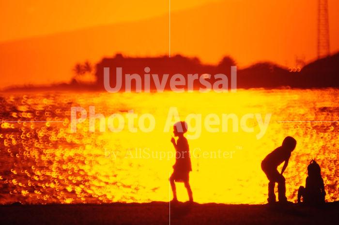 ハワイ オアフ アラモアナビーチパーク夕景 子供のシルエット / ha03-67