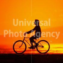 ハワイ オアフ アラモアナビーチパーク夕景 自転車に乗る人のシルエット / ha03-70
