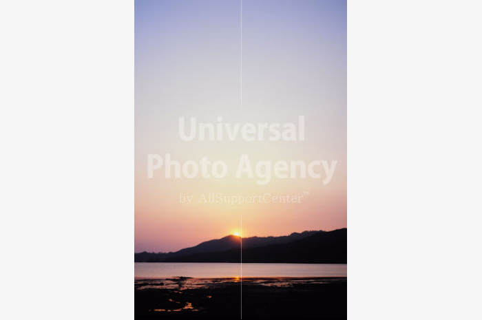 日本 山際の夕陽 / jp01-20
